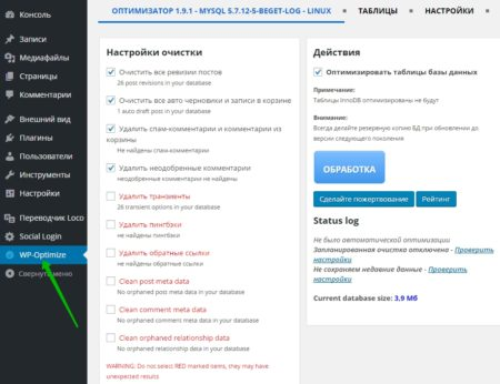 Плагин WP Optimize настройка и обзор